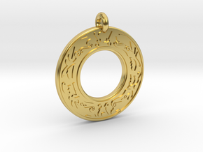 Celtic Stag Annulus Donut Pendant in Polished Brass