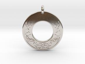 Cerridwen Celtic Goddess Annulus Donut Pendant in Rhodium Plated Brass