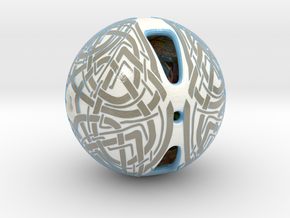 Celtic Knotwork Mythical  Sphere in Glossy Full Color Sandstone