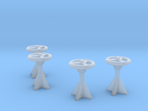 1/125 USN Control Wheels Set x4 in Smooth Fine Detail Plastic