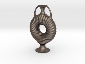 Vase R55 in Polished Bronzed-Silver Steel