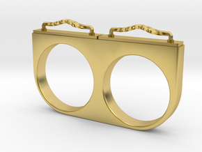 2-Drawer Ring, Ornate in Polished Brass