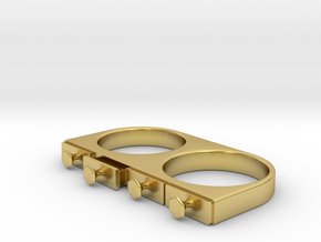 4-Drawer Ring, Open in Polished Brass