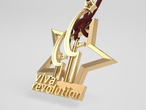 Viva Revolution - original pendant Pin  badge in Polished Brass: Small