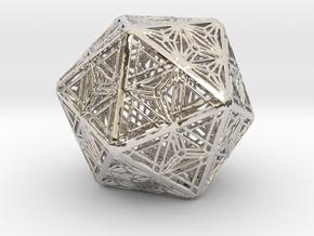 Icosahedron Unique Tessallation in Rhodium Plated Brass