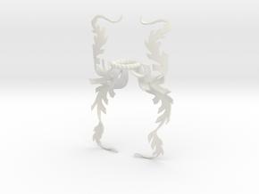 Fern Mantling (Symmetrical) in White Natural Versatile Plastic: Small