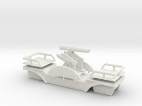 Affut truck 155 C artillery narrow gauge oo9 in White Natural Versatile Plastic