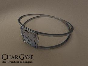 Elegant Bangle - Eight Petals Crossed in Frosted Ultra Detail