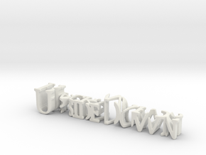 3dWordFlip: UpsideDown/Backwards in White Natural Versatile Plastic