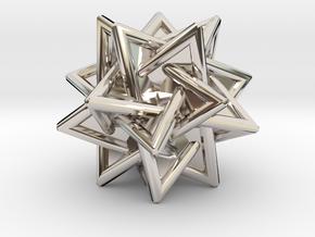 Tetrahedra Compound in Rhodium Plated Brass