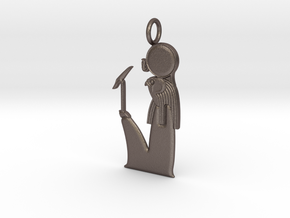 Ra  / Ra-Horakhty amulet in Polished Bronzed-Silver Steel