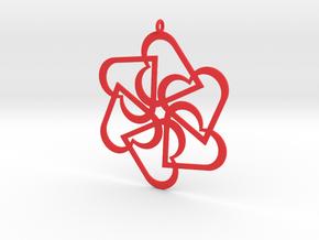 Six Hearts pendant in Red Processed Versatile Plastic