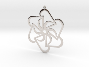Six Hearts pendant in Rhodium Plated Brass