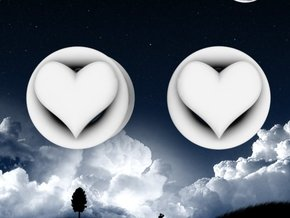 Heart 8mm (0 gauge) tunnels in White Strong & Flexible Polished
