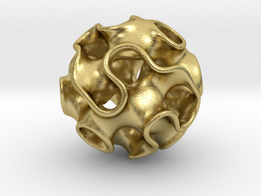 GYROID Sphere Pendant in Natural Brass: Small