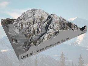 "Denali (Mount McKinley) Map:  8""x8"" in Natural Full Color Sandstone"