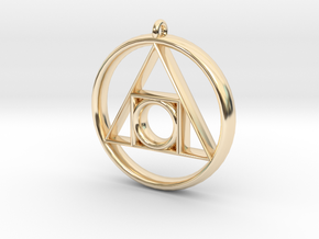 Philosopher's stone Symbol Pendant in 14k Gold Plated Brass