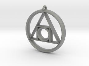 Philosopher's stone Symbol Pendant in Gray Professional Plastic
