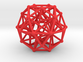 Tensegrity • Icosidodecahedron in Red Processed Versatile Plastic