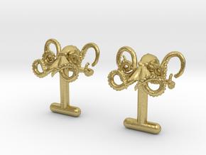 Octopus Cufflinks in Natural Brass