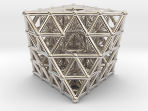 Octahedron fractal  in Rhodium Plated Brass