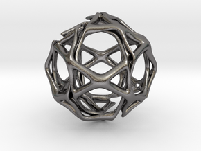 Icosidodecahedron Twisted members  in Polished Nickel Steel