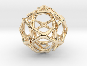 Icosidodecahedron Twisted members  in 14k Gold Plated Brass