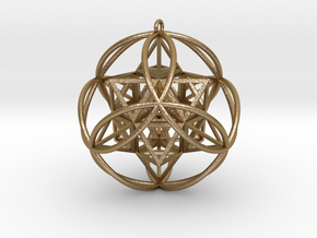 """Stellated Vector Equilibrium 6 Ring Pendant 2.5""""  in Polished Gold Steel"""