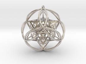 """Stellated Vector Equilibrium 6 Ring 2.5"""" Pendant in Platinum"""