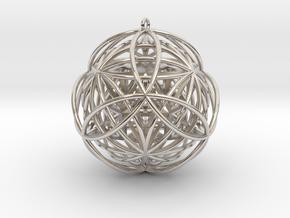 """Stellated Vector Equilibrium 17 Ring 2.5"""" Pendant in Platinum"""