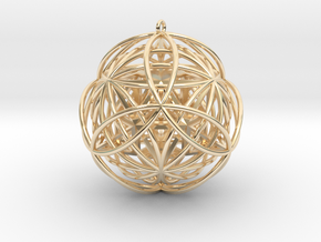 """Stellated Vector Equilibrium 17 Ring 2.5"""" Pendant in 14K Yellow Gold"""
