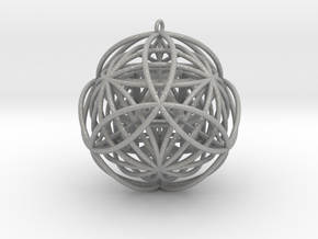 "Stellated Vector Equilibrium 17 Ring 2.5"" Pendant in Aluminum"