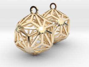 Triakis Icosahedron Earrings in 14k Gold Plated Brass