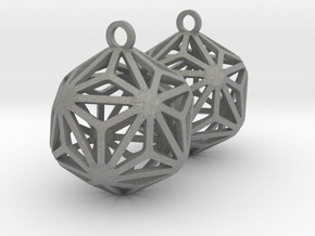 Triakis Icosahedron Earrings in Gray PA12