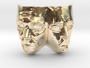 Theater Masks in 14K Yellow Gold