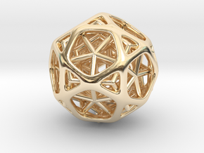 Nested dodeca & Icosa inside Icosidodecahedron in 14k Gold Plated Brass