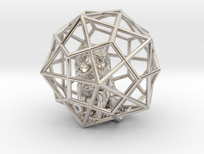 Lion inside Icosa dodeca Cage in Platinum