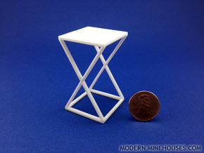 Xtra Side Table 1:12 scale in White Strong & Flexible Polished