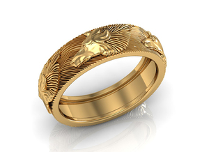 Wolf Ring in 14k Gold Plated Brass: 7.25 / 54.625