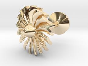 Airliner engine fan cufflink in 14K Yellow Gold