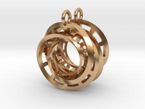 Interlocking Möbius Ladders Earrings in Polished Bronze (Interlocking Parts)