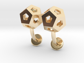 Dodecahedron Cufflinks in 14k Gold Plated Brass