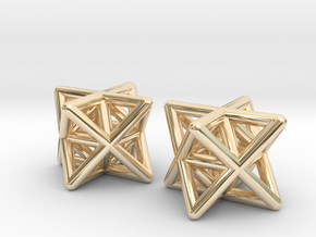 Stellated Octahedron Earrings in 14k Gold Plated Brass