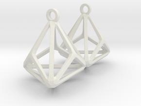 Triakis Tetrahedron Earrings in White Natural Versatile Plastic