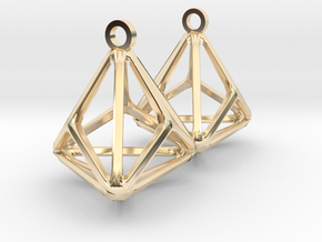 Triakis Tetrahedron Earrings in 14k Gold Plated Brass