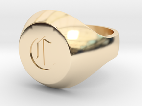 "Initial Ring ""C"" in 14k Gold Plated Brass"
