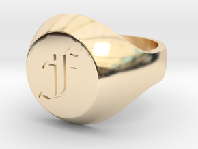 "Initial Ring ""F"" in 14k Gold Plated Brass"