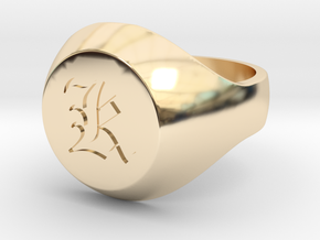 "Initial Ring ""K"" in 14k Gold Plated Brass"