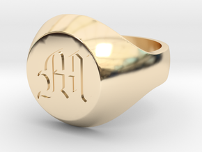 "Initial Ring ""M"" in 14k Gold Plated Brass"