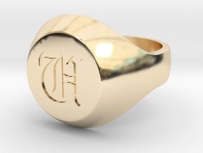 "Initial Ring ""U"" in 14K Yellow Gold"